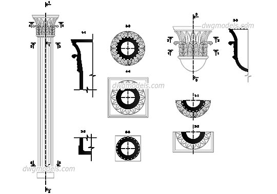 Column Composite - DWG, CAD Block, drawing.