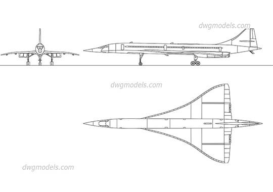 Concorde Aircraft dwg, cad file download free