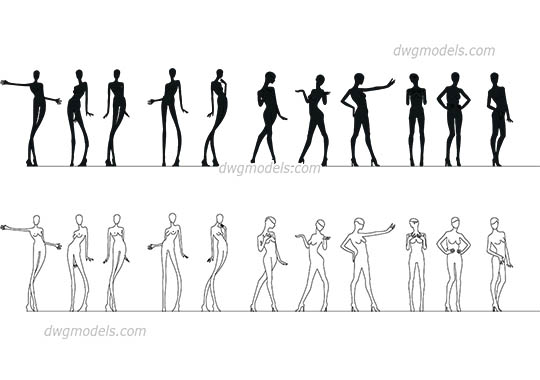 Mannequins Pack - DWG, CAD Block, drawing