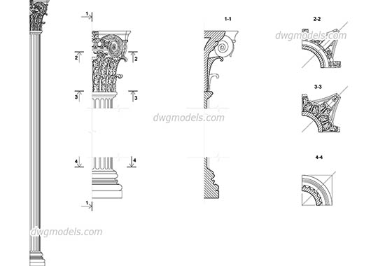 Composite pilaster free dwg model