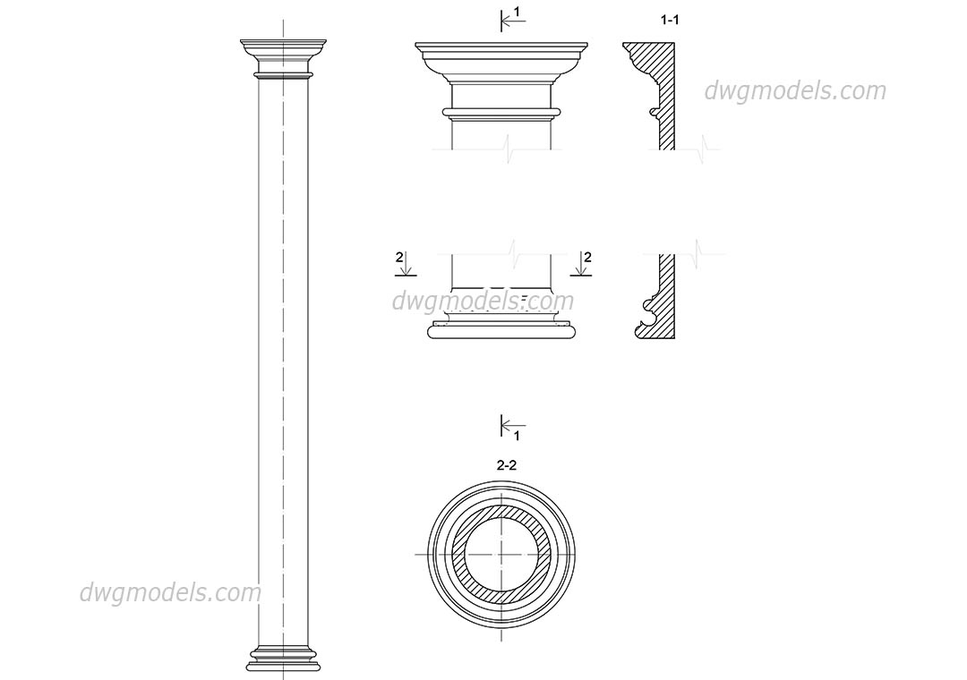 Tuscan Order Details AutoCAD drawings free download, CAD models