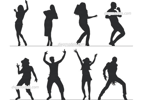 People Dancing free dwg model