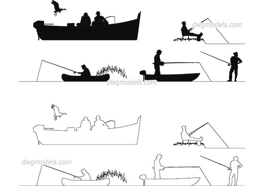 People Fishermen free dwg model