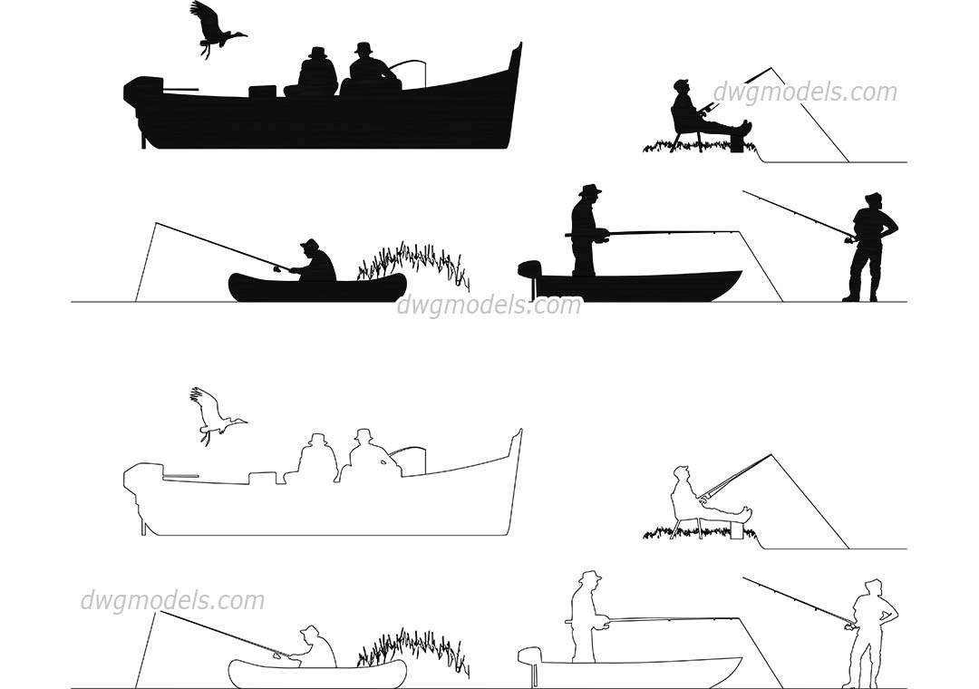 People Fishermen dwg, CAD Blocks, free download.