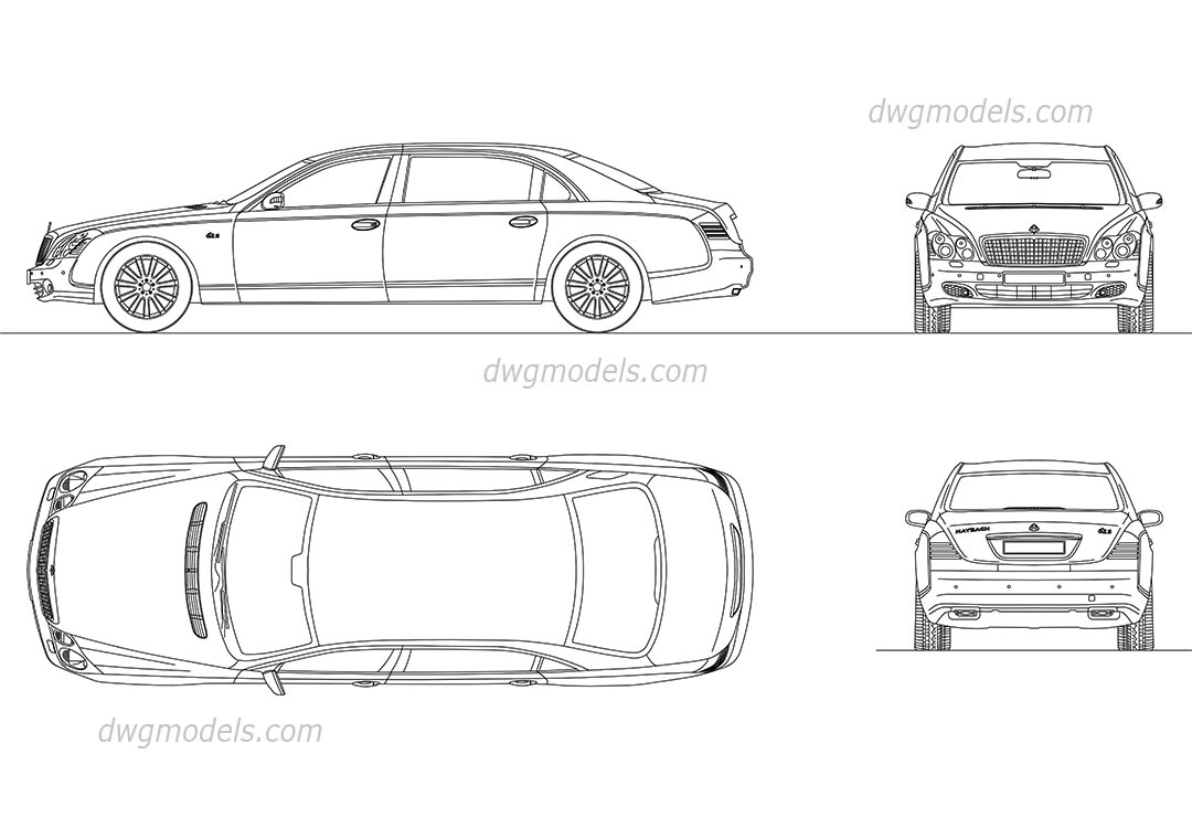 Delightful Maybach 62S Dwg, CAD Blocks, Free Download.