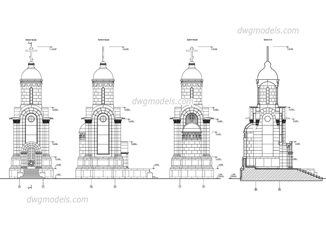 Chapel Elevation dwg, CAD Blocks, free download.