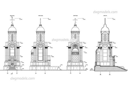 Chapel Elevation free dwg model