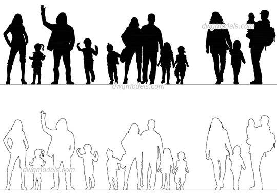 People Family dwg, cad file download free
