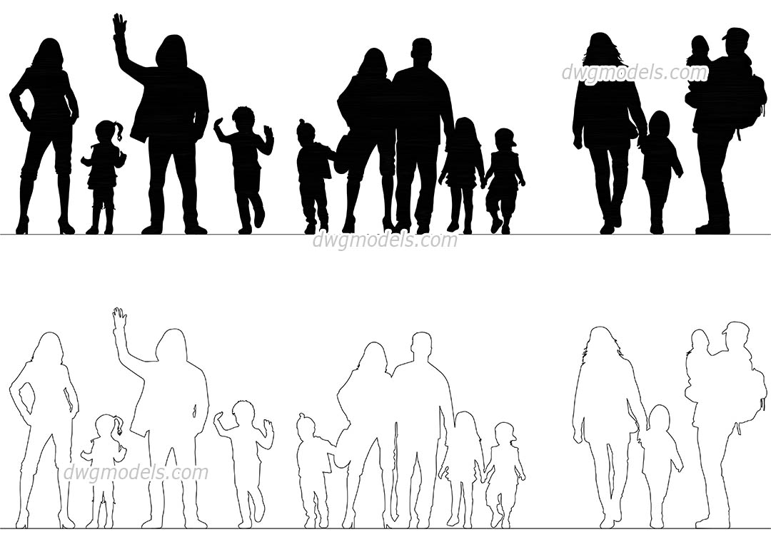 People Family dwg, CAD Blocks, free download.