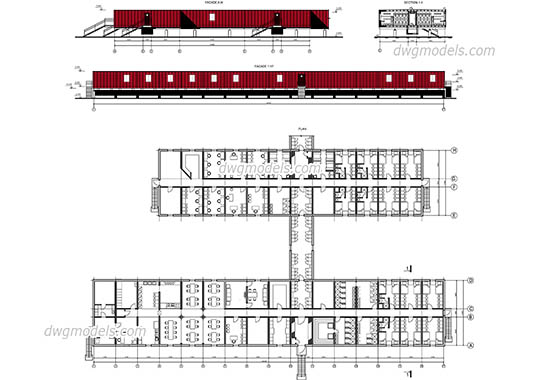 Modular housing dwg, cad file download free.