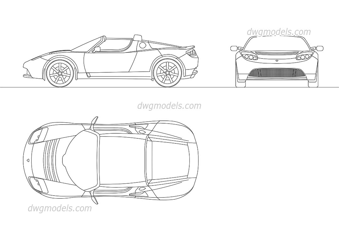Tesla Roadster 2010 dwg, CAD Blocks, free download.
