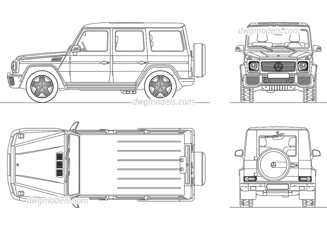 Mercedes-Benz G-Class dwg, CAD Blocks, free download.