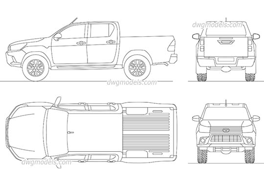 Toyota Hilux (2016) - DWG, CAD Block, drawing