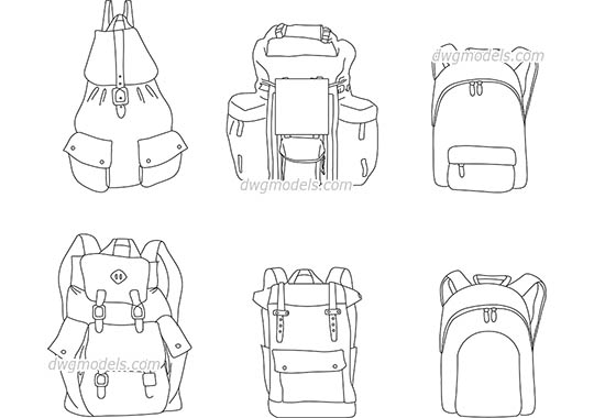 Backpacks dwg, cad file download free.