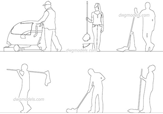 People Cleaning - DWG, CAD Block, drawing
