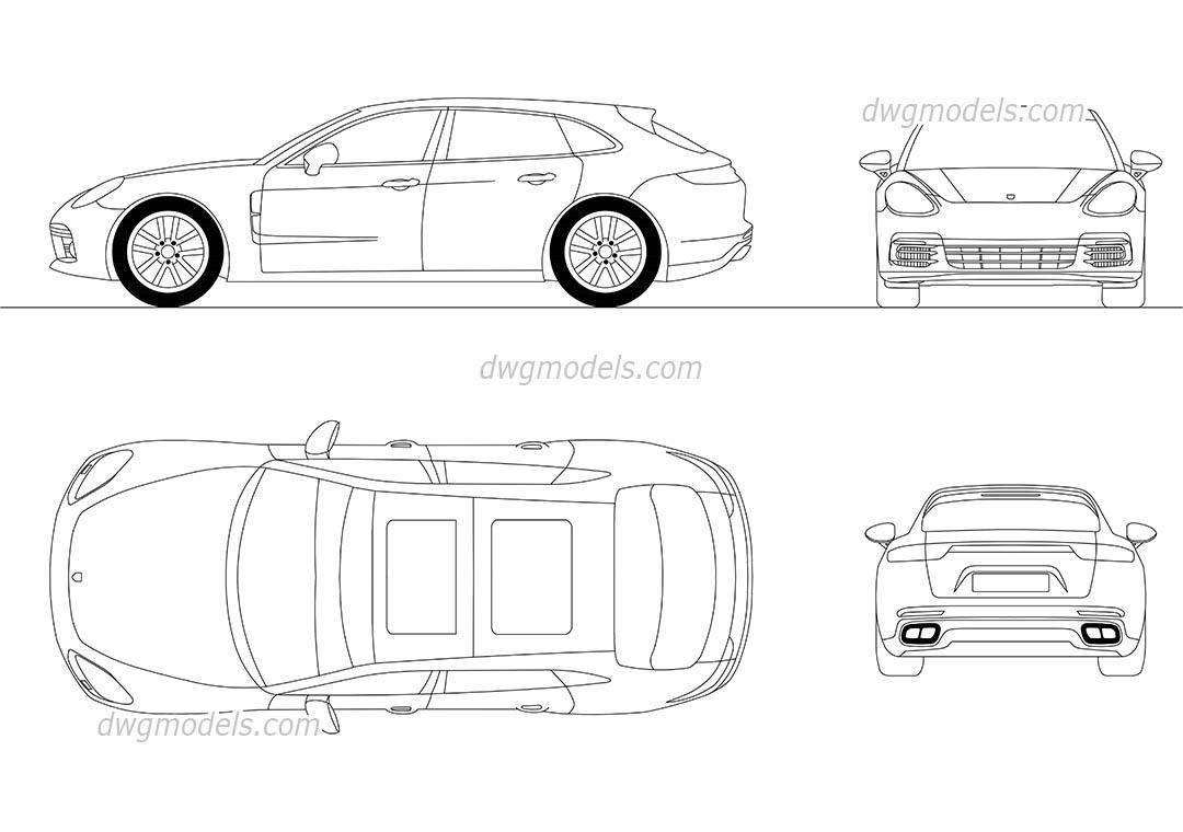 Mercedes Benz Symbols >> Porsche Panamera AutoCAD drawings, DWG models download