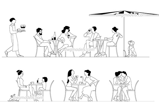 People in Cafe dwg, cad file download free
