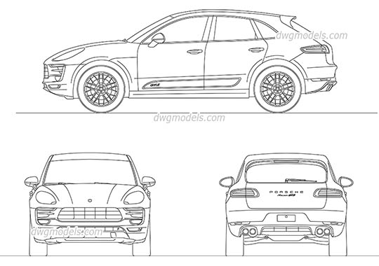 Porsche Macan dwg, cad file download free
