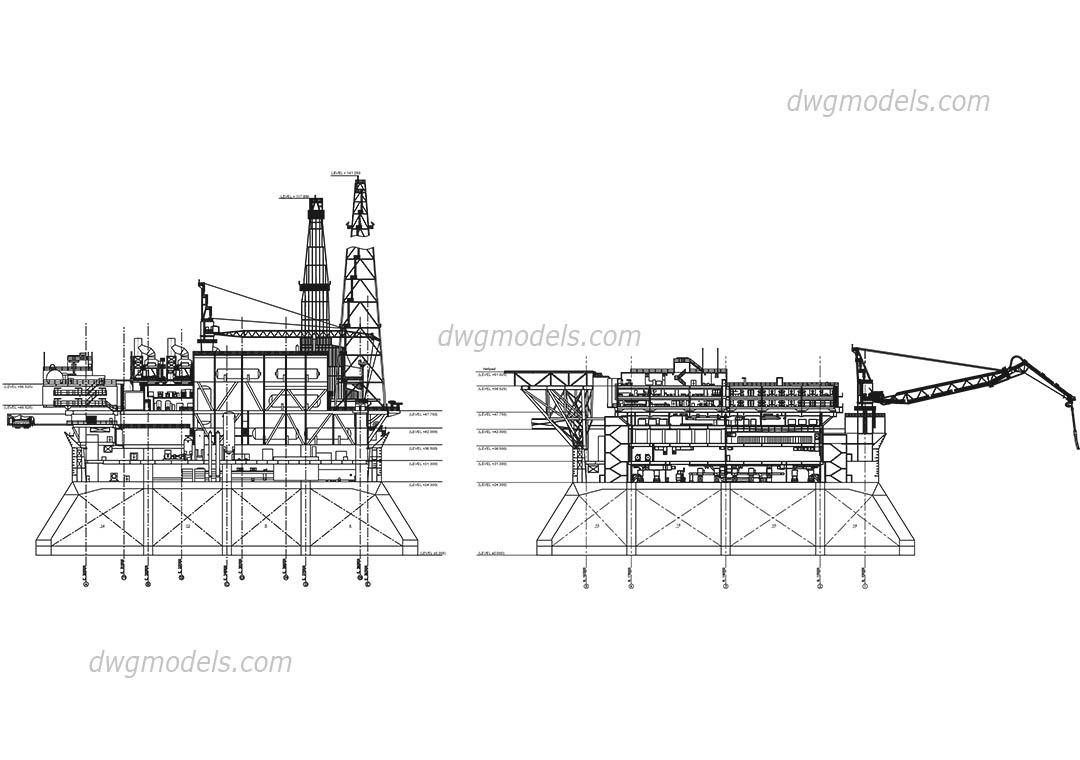 Oil Platform dwg, CAD Blocks, free download.