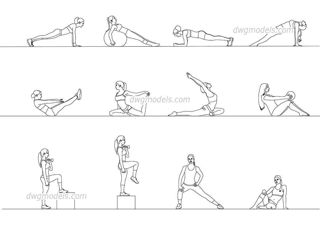 Fitness Girls dwg, CAD Blocks, free download.
