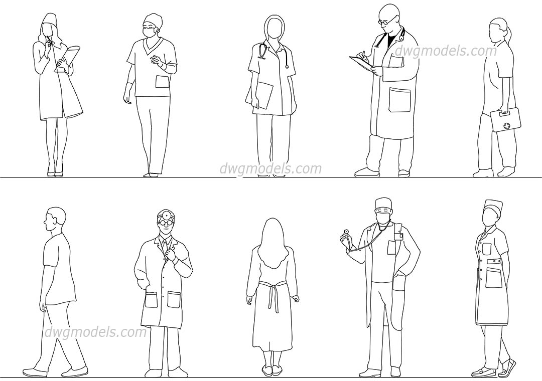 Doctors & Medical Workers dwg, CAD Blocks, free download.