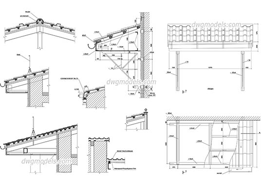 Details of Roof dwg, cad file download free.