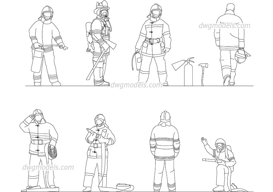 People Firefighters dwg, CAD Blocks, free download.