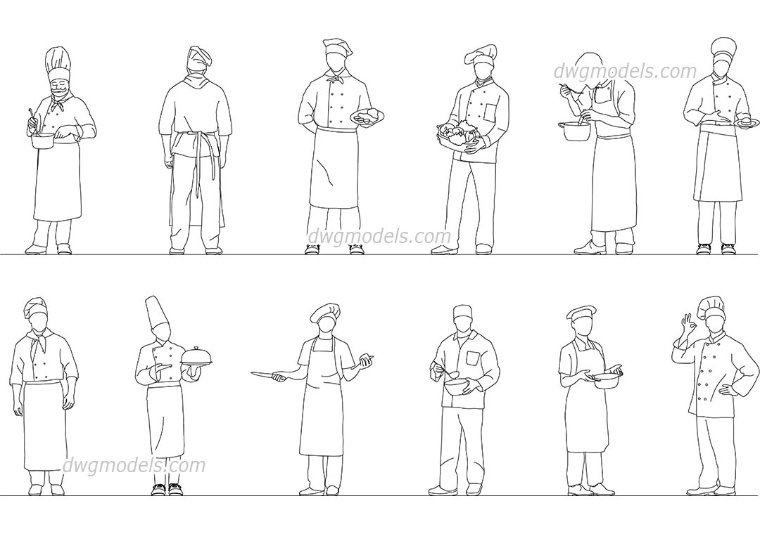 People Head Cook Chef dwg, CAD Blocks, free download.