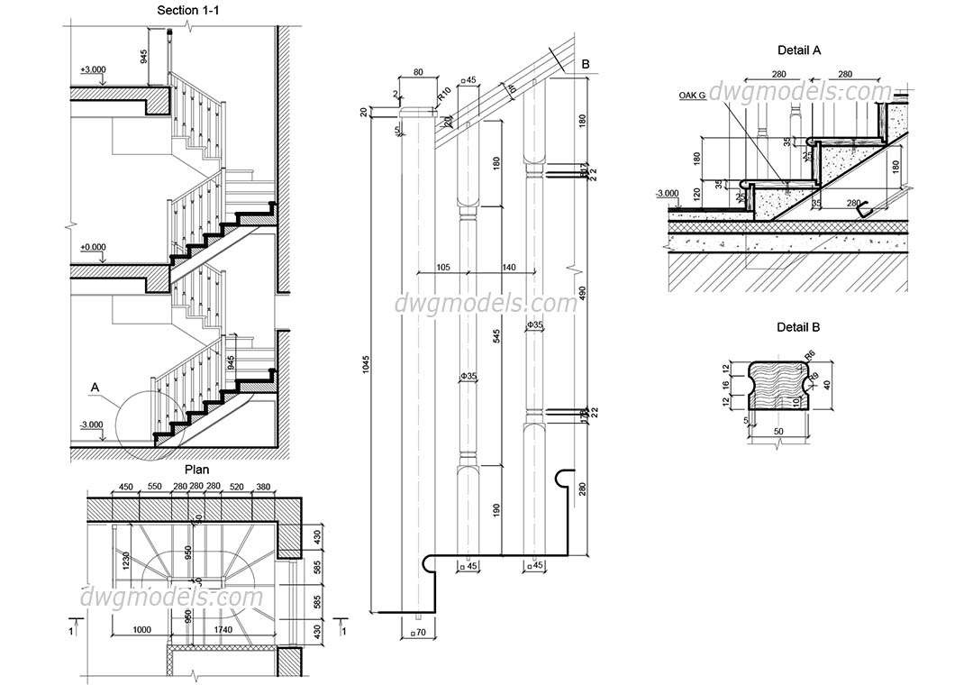 Wooden Staircase dwg, CAD Blocks, free download.