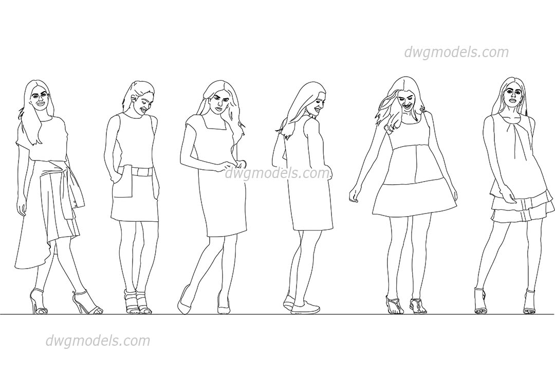 Girls in dresses dwg, CAD Blocks, free download.