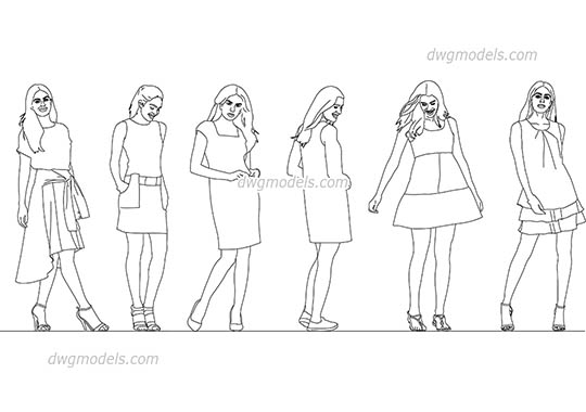 Girls in dresses - DWG, CAD Block, drawing