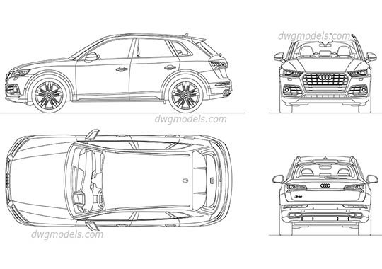 Audi SQ5 (2017) AutoCAD blocks