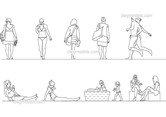 People on the beach. Pack 2 free dwg model