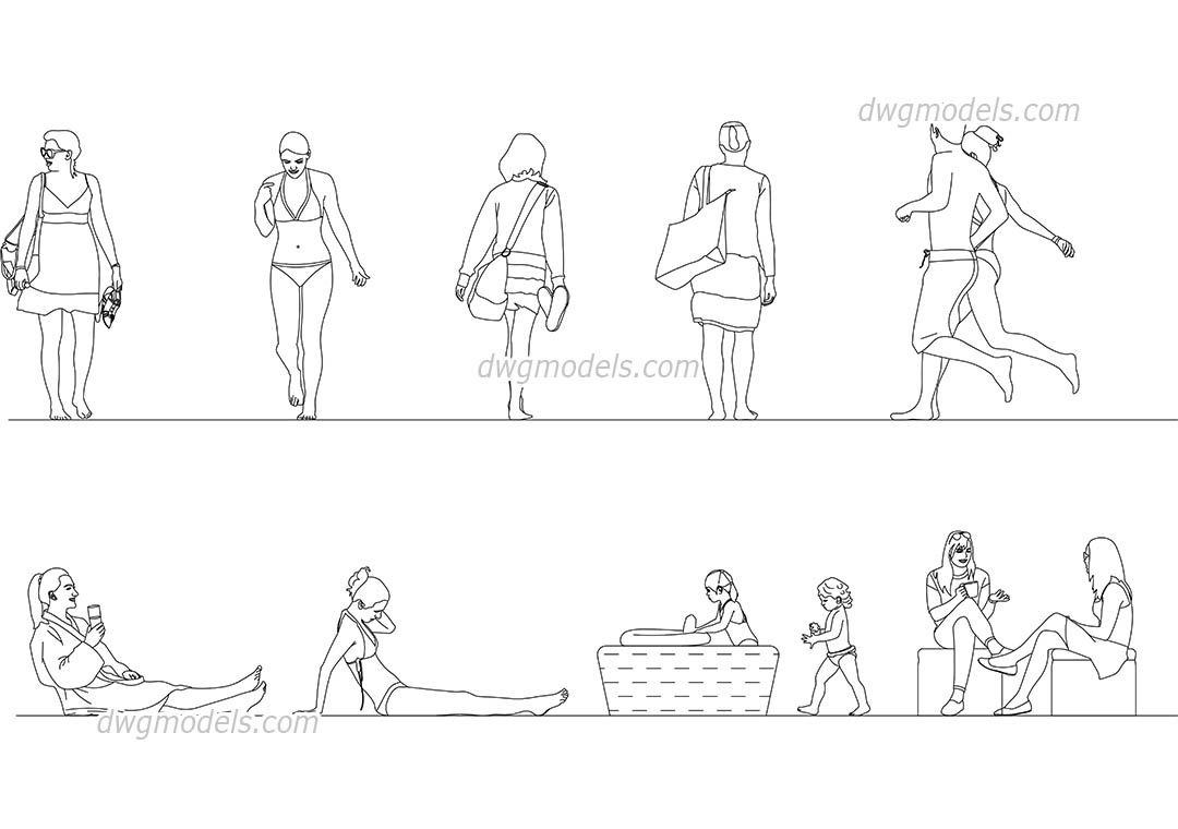 People on the beach. Pack 2 dwg, CAD Blocks, free download.