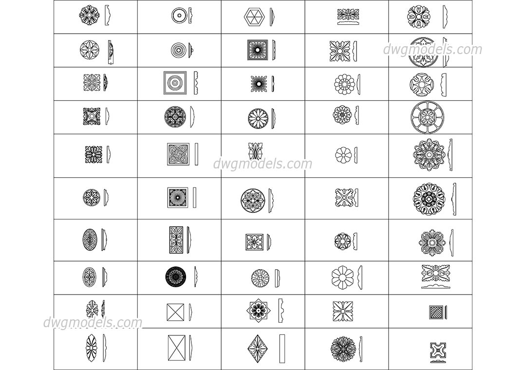 Decorative Wall And Ceiling Elements Cad Drawings Autocad
