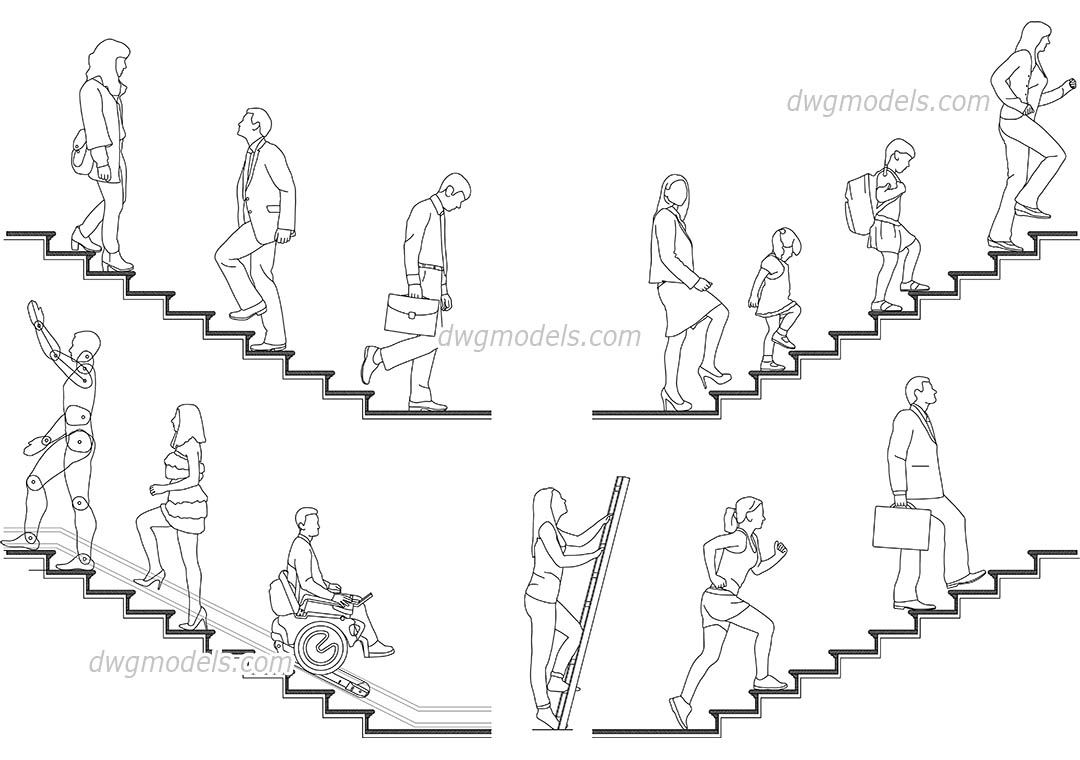 People on the stairs dwg, CAD Blocks, free download.