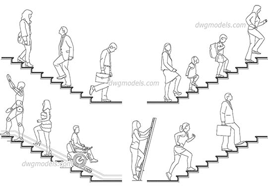 People on the stairs AutoCAD blocks