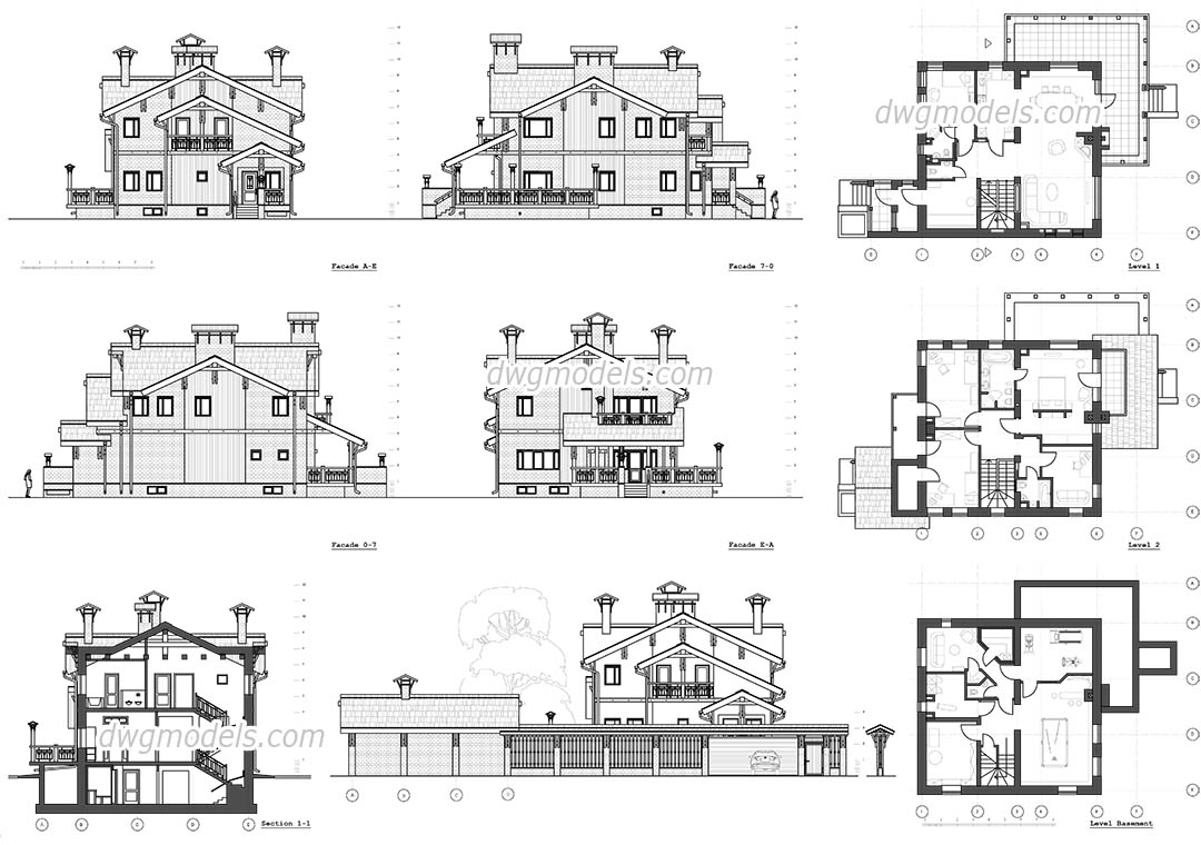 Classic Villa Autocad Drawings Free Download Blocks