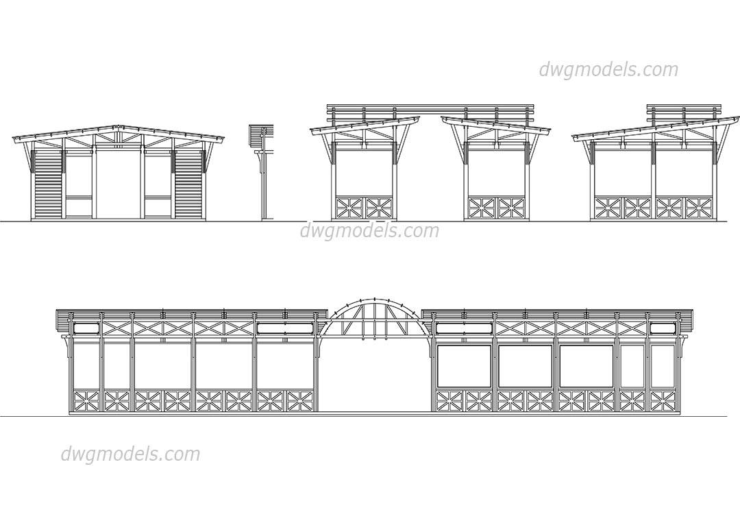Wooden Structures dwg, CAD Blocks, free download.