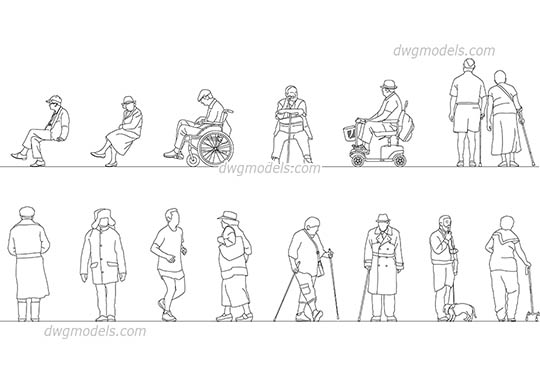 Elderly People dwg, cad file download free