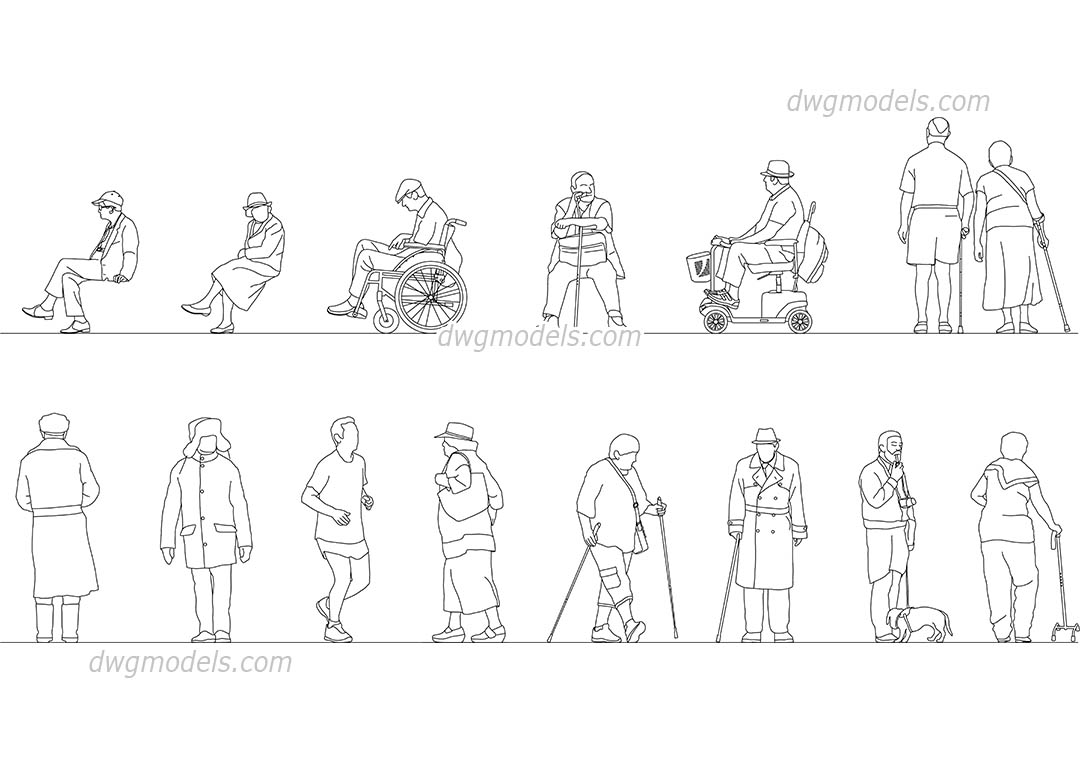 Elderly People dwg, CAD Blocks, free download.