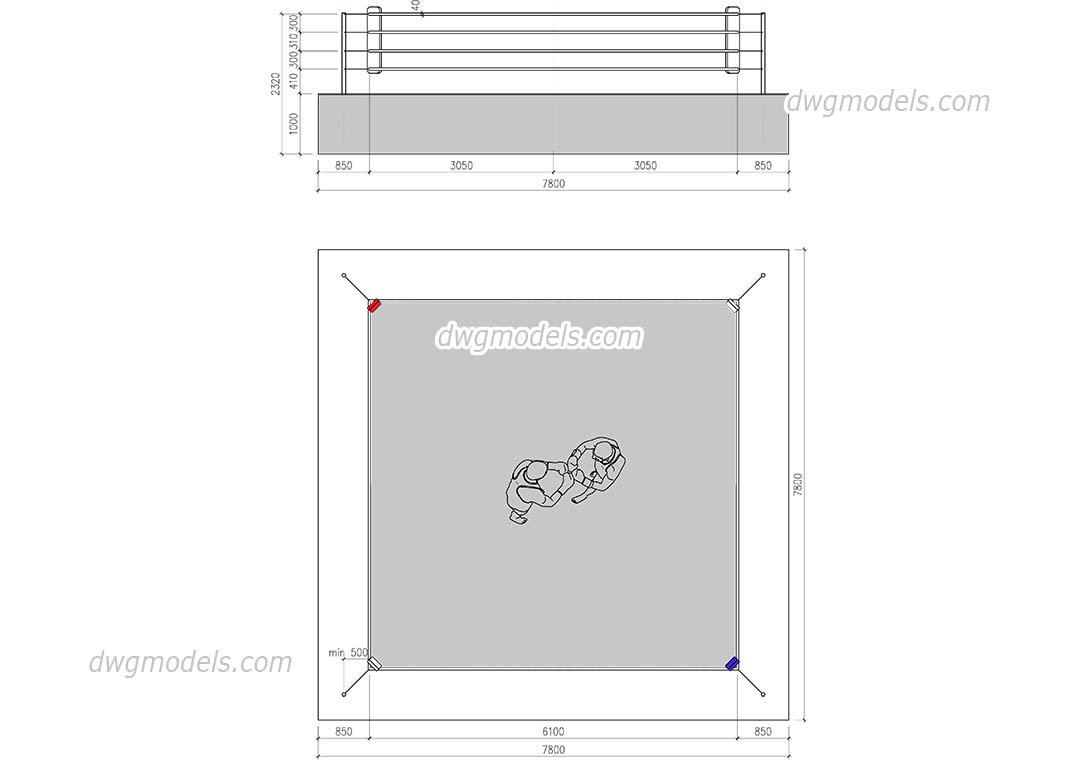 Boxing Ring dwg, CAD Blocks, free download.