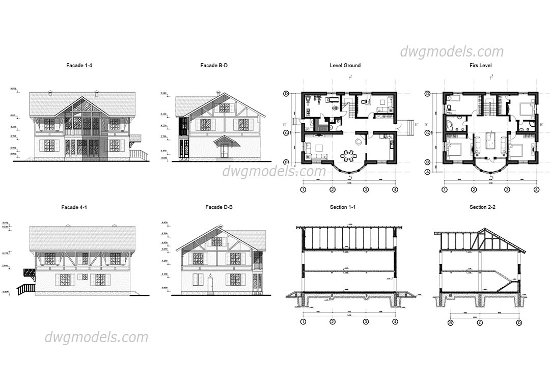 Villa autocad file facades plans free dwg file House cad drawings