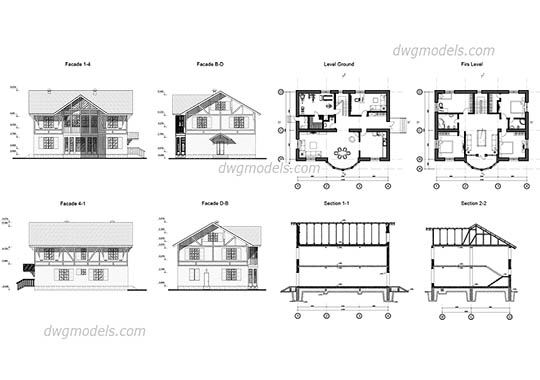 Villa 6 dwg, cad file download free.