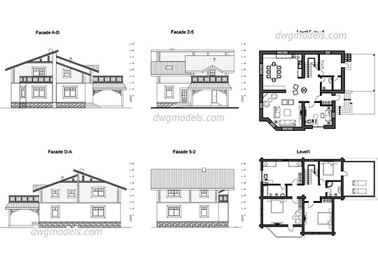 Villa Chalet dwg, cad file download free