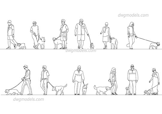 People With Dogs AutoCAD blocks