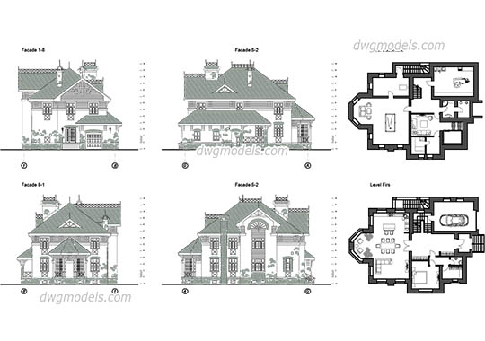 Villa 7 dwg, cad file download free