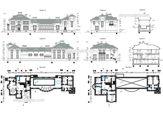 Villa With Swimming Pool dwg, cad file download free