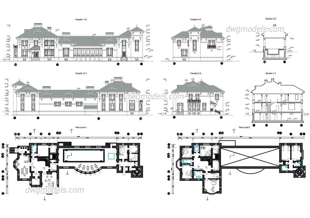 Villa With Swimming Pool Cad Drawings Free Autocad File Download