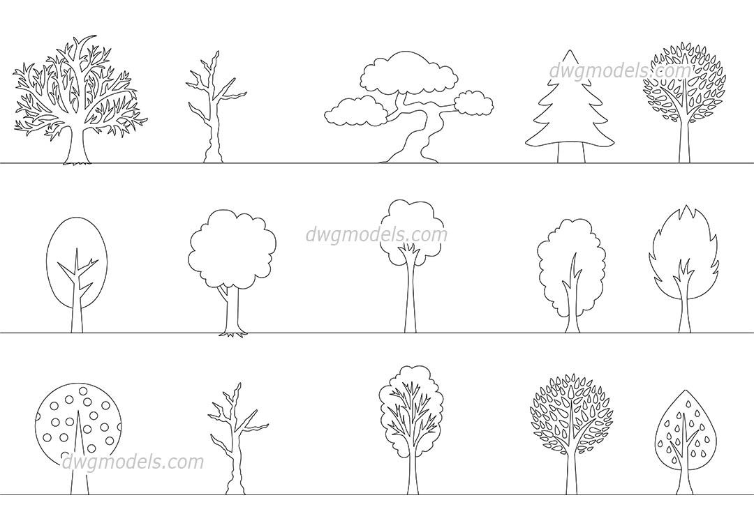 Decorative Trees dwg, CAD Blocks, free download.